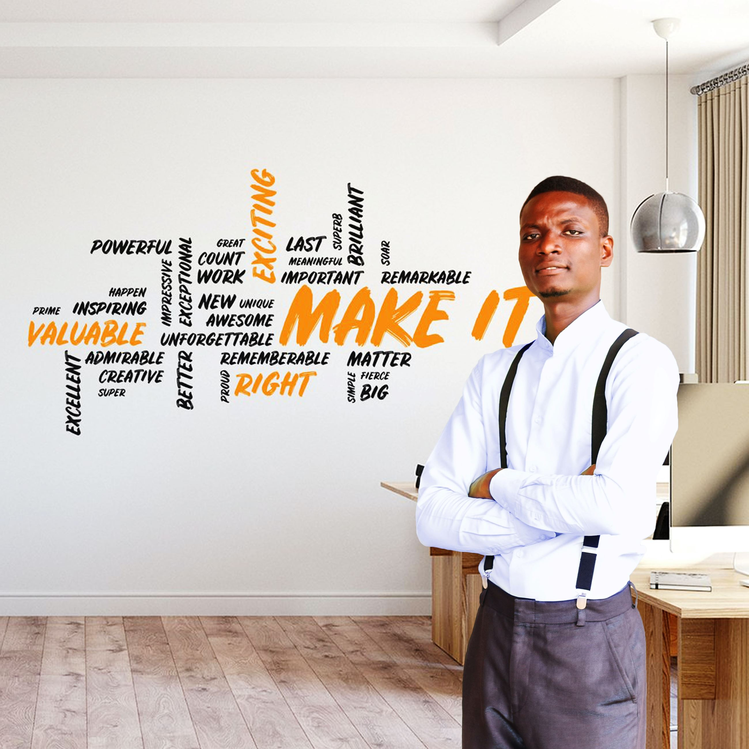 a confident businessman standing in front of motivational quotes